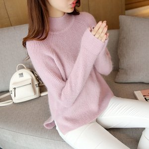 OHCLOTHING 6629 pure rabbit hair spiral turtleneck sweater 63 half split hem