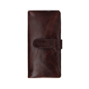 Men's leather wallet, oil wax leather retro long passport wallet, large capacity multi-slot coin bag