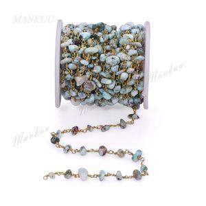 Großhandel Natürliche Larimar Chips Stein Perlen Kette Vergoldung Kupfer Wire Wrap Link Ketten Für Handgemachte DIY Schmuck Machen 5 Mt / los