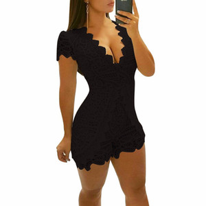 Hollow Out Lace Playsuit Sexy V Neck Short Sleeve Slim Summer Overalls For Women Combishort Femme Ete Body Suit Ez*