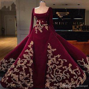 Dubai Langarm-Quadrat-Ausschnitt Abendkleider 2020 Gold SpitzeAppliques Prom Kleid-formales Kleid Vestido de Noche