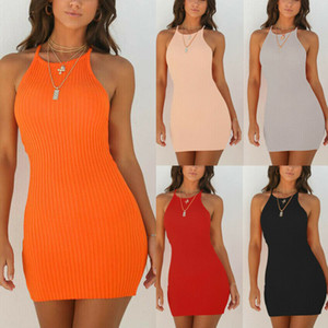 Yeni Yaz Parti Moda Seksi Kadın Elbise 2 Stil Kolsuz O-Boyun Katı Sıska Yüksek Bel Mini Elbise Sundress