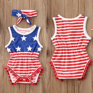 Summer Toddler Clothing Baby Girls Sleeveless USA Independence Days Overall Hairbands infant two Piece Set Striped Jumpsuits SALE D6415