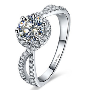 Prueba positiva genuino Moissanite Marca Anillo de plata esterlina 1CT laboratorio diamantes Grown Anillo de joyería anillo de compromiso Wave 925