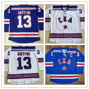 전체 스티치 13 파벨 Datsyuk KHL 저지 CKA 세인트 피터스 버그 17 일리아 Kovalchuk KHL 남자 자수 로고 하키 유니폼 화이트 블루
