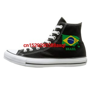 Canvas Shoes Brazil Football Soccer Flag Classics High Top Lace Ups Sneaker For Men's Women's