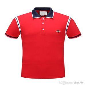2020 HOT New Fashion Design Polo Menswear Brand Polo Shirt Short Sleeve Honey Tiger Snake Animal Embroidery Classic Polo Shirt red