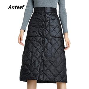 Anteef плюс размер черный 2020 высокая талия одежда осень зима saia повседневная свободные миди юбки женская юбка jupe женская уличная одежда V200408