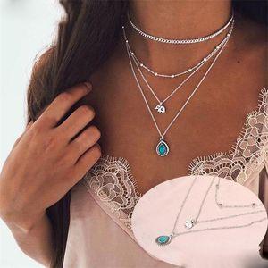 Fashion Minimalist Choker Necklace For Women Elephant Turquoise Charm Pendant Necklace Boho Jewelry Long Statement Multilayer