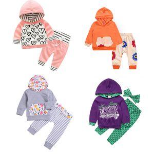 Дети Printed Hooded Set 5 Дизайн Рождественский олень с капюшоном Костюм Детская одежда Повседневная девушка Цветочные штаны Mermaid стяжкой малышей Эпикировка 06