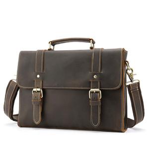 2019 NOUVEAU Porte-documents en cuir véritable vintage d'affaires des hommes Messenger Bag Designer Laptop Bag de luxe Sac café