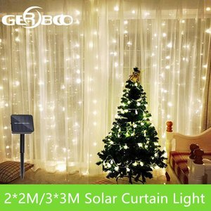 3x3 2x2m Solar LED Icicle String Lights Christmas Fairy Lights garland Outdoor Home For Wedding Party Curtain Garden Decoration Y200603