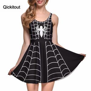 Sexy girl dress estilo verão quente mulheres dress impressão digital preto spider vestidos sem mangas quente praia navio da gota