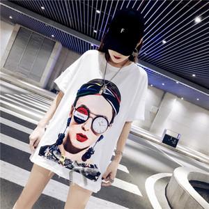 Shuchan Character Print Harajuku Camiseta Para Mujer Algodón Suelta Streetwear Verano Nuevo 2019 O-cuello de manga corta blanco negro