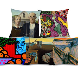 5 Styles World Famous Paintings Cushion Covers American Gothic Persistence of Memory Cushion Cover Sofa Linen Pillow Case