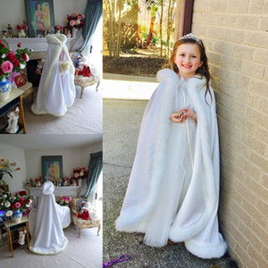 Hot Cheap Hooded Flowers Girls Cape For Wedding Cloaks Christmas White Ivory Faux Fur Winter Wedding Jacket Wraps Floor Length Free Shipping