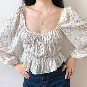 Vintage Collare Quadrato floreale Crop Top Donna Lanterna Manica Bow Lace Up Manica Lunga Camicie Corte vacanze estive Top 2020