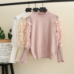 2019 Fall new Big girls sweater kids stereo petals applique princess pullover women knitted sweater splicing puff sleeve jumper F9868