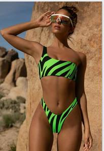 Femmes Designer animal rayé Bikinis sexy creux d'une épaule Out Maillots de bain Mode Nature Couleur Plage Maillot de bain Femme Vêtements Natation
