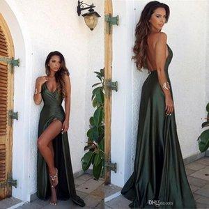 2019 Sexy Vert Olive Backless Robes de bal de Split élégante de partie simple robe manches longues col V étage Longueur Robes de soirée
