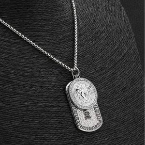 2020 Luxus 18k Gold Silber Punk Medusa Hip Hop Tag Halskette Kopf-Portrait-Anhänger Neckalce Modeschmuck Accessoires Militär Anhänger