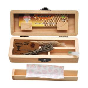 Alta Qualidade da Madeira Stash Box Com Bandeja Do Rolling Natural Handmade de tabaco de madeira e Herbal Caixa de armazenamento Para cachimbo Acessórios