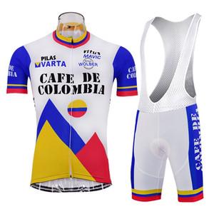 카페 드 콜롬비아 레트로 2019 프로 팀 남자 사이클링 저지 짧은 소매 통기성 자전거 여름 사이클링 의류 maillot ciclism