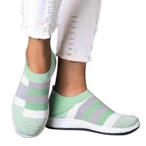 Women Striped Sneakers Autumn Flats Slip On Women's Knitting Shoes Female Platfrom Shoes Ladies Vulcanized Plus Size