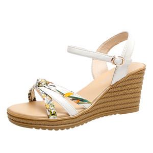 Plate-forme Wedge CHAMSGEND été Mode féminine avec une boucle de mot avec des sandales confortables en plein air sauvages floraux occasionnels