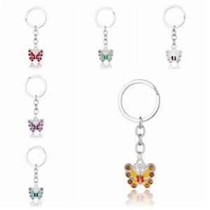 Borboleta de cristal Keychain do cristal de rocha Chaveiros para Chaves Bag Car Charme Chaveiro bolsa pingente Cadeias Casal chave presentes Crafts Acessórios