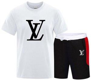 2020 Set Moda Hombres 2PC de Verano Primeros corto collar del soporte de 2 piezas de la camiseta pantalón corto deportivo se adaptan al chándal de algodón conjunto Sportsuits
