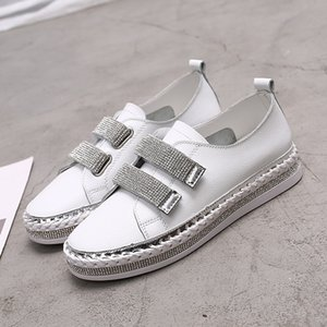 Yu Kube-echtes Kristallleder Turnschuhe Loafers Schuhe 2020 HOOkLOOP Frau Plattform Wohnungen Damen weiß Wanderschuhe CY200519
