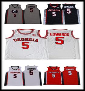 Camicie Georgia Bulldogs 2020 Ncaa Basketball 5 Anthony Edwards Università Maglia Team Rosso Bianco Nero Grigio cucito Uomo
