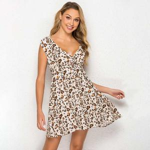2020 Mode Leopard Print Dot Print V-Ausschnitt Ärmellose Hohe Taille Kleider Casual New Sommer Mode Womens Schwanger Lose Kleid