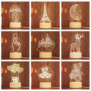 Productos creativos blanco Acrílico Light Night Crack USB 3d Lámpara de noche Base blanca Lovely White 3D Lamp