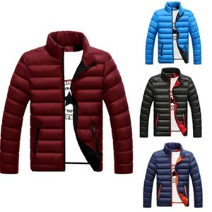 2020 Winter Men Down Coat Slim Fit Cotton Thicken Portability Warm Outwear Male Zipper Quilted Clothing Coats Plus Size 4 Colors