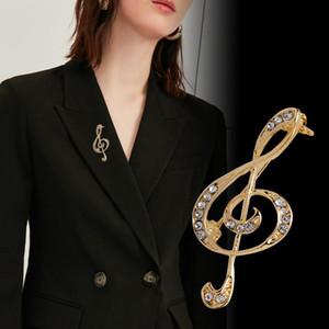 Корейский Новый Высокосортный Metal Music Note Брошь Rhinestone Кристалл знак моды платье шарф пряжки ювелирные изделия для женщин Аксессуары