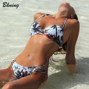 Bkning Push Up Bikini Palma bikini Swimwear cinghietti donne costume da bagno della fasciatura del vestito di nuotata di stampa da bagno 2020 Retro Biquini