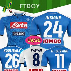2019 2020 دوري الدرجة الاولى الايطالي نابولي نابولي الرئيسية لكرة القدم بالقميص الأزرق نابولي لكرة القدم الفانيلة قميص للرجال 19 20 LOZANO هامسيك لاعب L.INSIGNE قميص