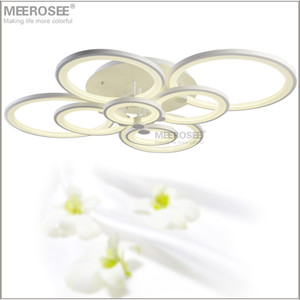 Modern LED Chandelier Light Fixture White Acrylic 90-260V 4000K LED Ring Ceiling Lamp for Living room Flush Mounted Lamparas de techo