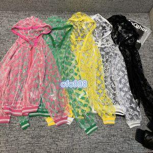 2020high donne ragazze finali prospettiva cappotto del rivestimento multicolore in tulle tutto monogramma lettera Jacquard manica lunga protezione solare del cardigan top coat