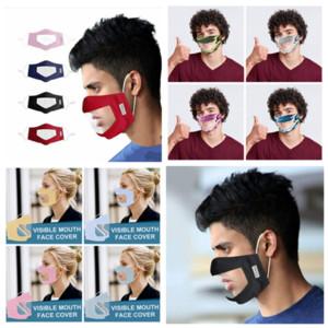 Taubstummen transparente Gesichtsmaske Masken Einstellen Staubdichtes Mundmasken Waschbar Earloop Gesicht Atemmaske YYA145