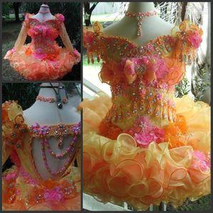 Orange organza court filles Pageant Robes 2020 cristaux de perles Ruffles Une ligne courte fleur Coupe Girl Dress gâteau Pageant Party robes BA9078