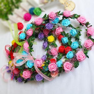 Nupcial do casamento Flor Grinalda Bohemian Cabeça de Rose Crown Rattan Garland Festival Floral Headband cocar Party Decoration LJJA3735-2