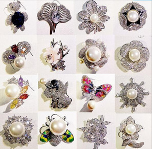 10pcs lot Mix Style Fashion Crystal Jewelry Brooches Pins For Jewelry Craft Gift BR13 Free Shipping