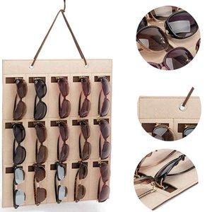 Multi-slot di occhiali da sole Organizzatore Hanging orecchini collana in feltro Holder archiviazione