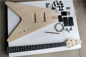 Fabrika Özel Doğal Ahşap V Şekli Elektrik Bas Gitar Seti (Parçalar) 4 Strings, Siyah Donanım, Yarı mamul Gitar, Teklif Özelleştirilmiş