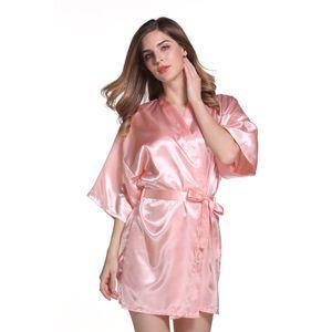 SATIN BRIDESMAID ROBES 22 colores Bridesmaids Robe Batas de boda Ropa de dormir Kimono Pijamas batas para mujer Immitation Seda de baño
