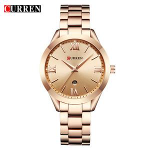 Curren Altın İzle Kadınlar Saatler Bayanlar Yaratıcı Çelik kadın Bilezik Saatler Kadın Saat Relogio Feminino Montre Femme 9007 Y19062703