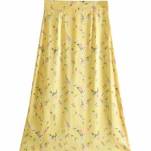 أزياء المرأة BB35-9347 SATIN FLORAL نصف تنورة الأزياء الأوروبية والأمريكية